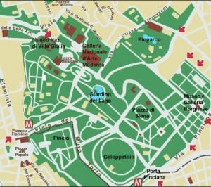 villa borghese map