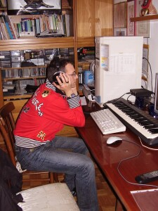Luca Russo listen the new music for the project CORPO by Adel Karanov