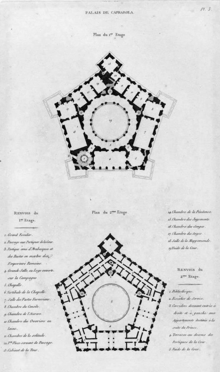 Plan of Villa Farnese - Caprarola - Italy local guide