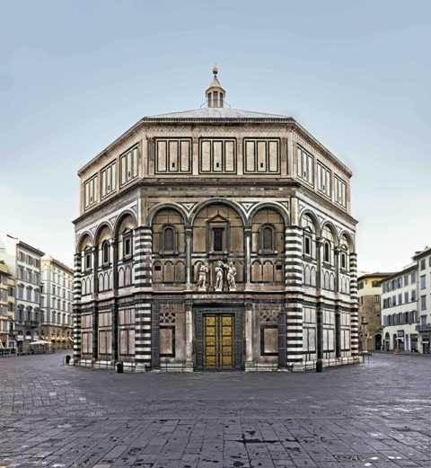 Piazza San Giovanni: veduta del Battistero, lato Est.